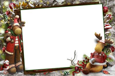 Новогодняя рамка для трех фото с елками