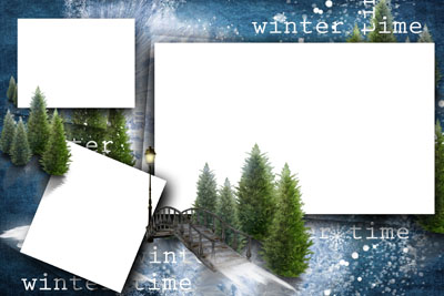 Новогодняя рамка с ленточками и елью