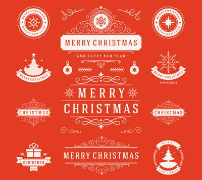 Рождественские логотипы с лентами
