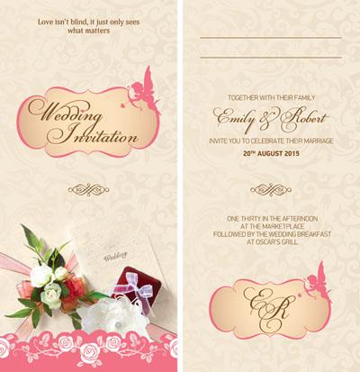 Стильное приглашение на свадьбу бежевого цвета