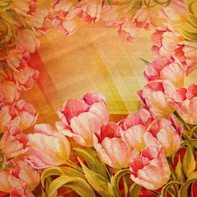Рамка весенняя с тюльпанами оранжевого цвета