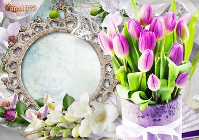 Рамка круглая весенняя с цветами