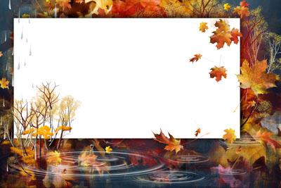 Рамка осенняя с желтыми кленовыми листьями
