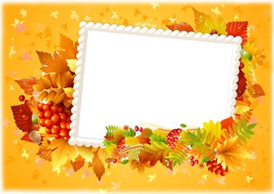 Рамка осенняя желтая с листьями