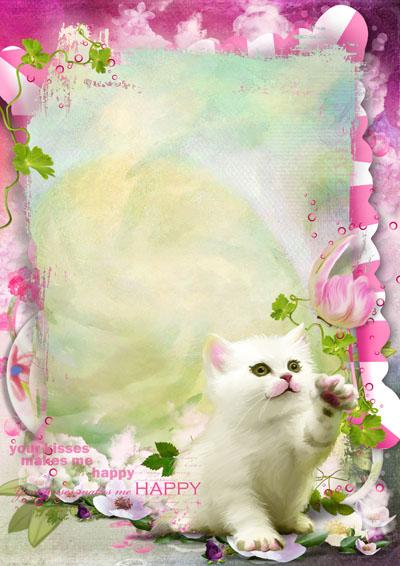 Рамка розовая с котиком