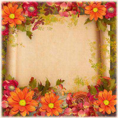Рамка с оранжевыми цветами и старым свитком