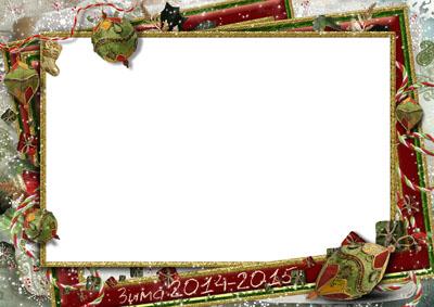 Рамка зимняя с красной каймой