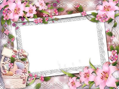 Рамка пасхальная с розовыми лилиями