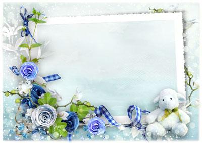 Рамка с зимними цветами и игрушкой
