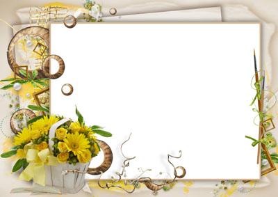 Рамка с желтыми цветами