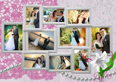 Рамка для свадебной истории из 10 фотографий