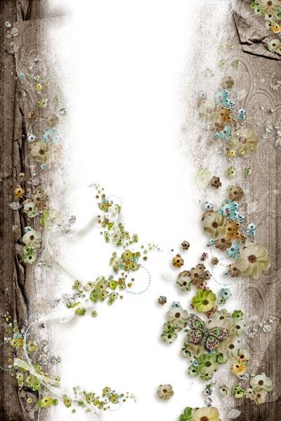 Рамка вертикальная с цветами