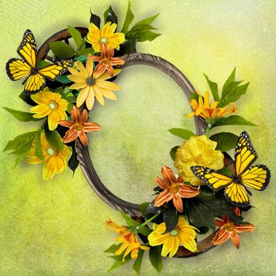 Рамка с желтыми цветами и бабочками