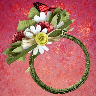 Рамка круглая с ромашками и бабочкой