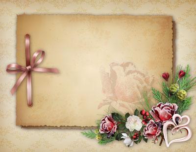 Рамка со старой бумагой и цветами
