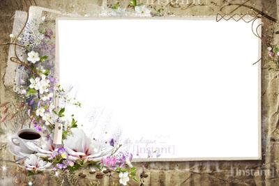 Рамка ретро с цветами