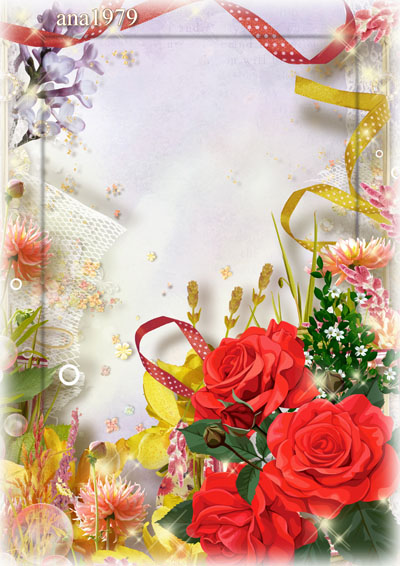 Рамка с яркими розами и лентами