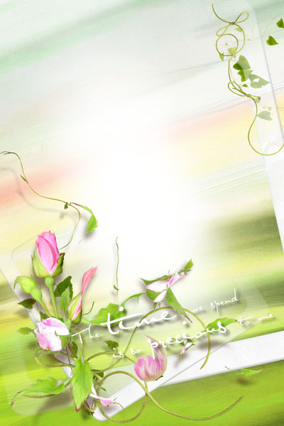 Рамка весенняя с бутонами роз