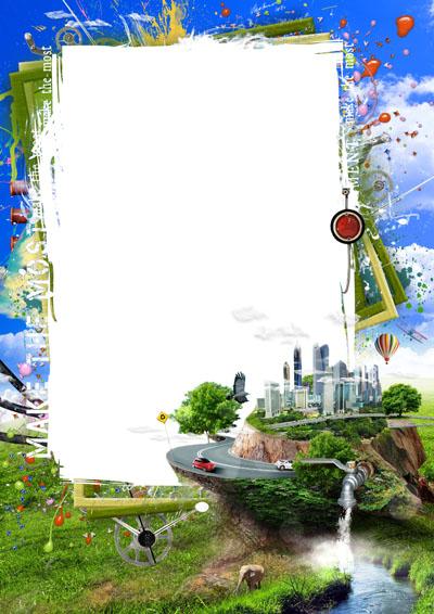Рамка с городом на фоне неба