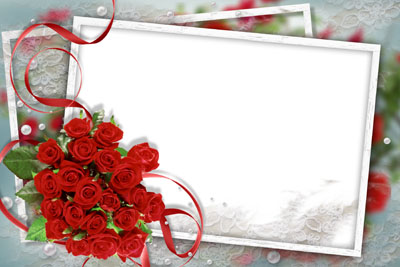 Рамка с лентами и красными розами