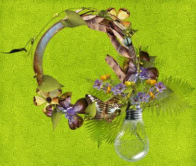 Рамка с цветами и лампочкой