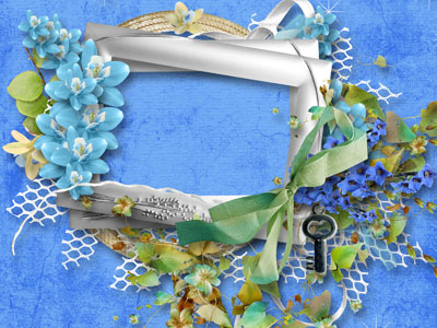 Рамка с голубыми цветами и ленточками