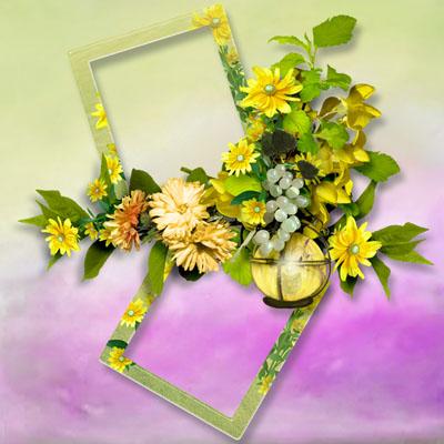 Рамка из двух фото с цветами