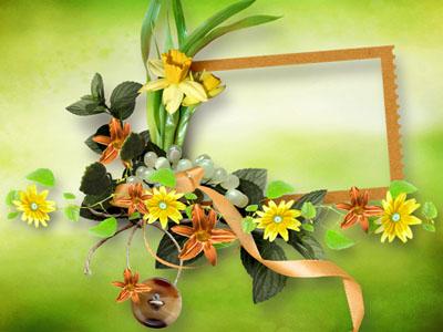 Рамка с желтыми цветами и лентами