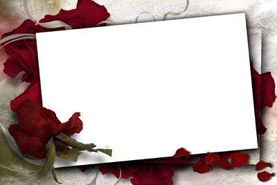 Рамка с бордовыми розами