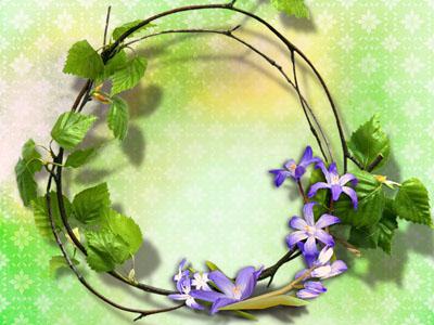 Рамка из веток и цветов
