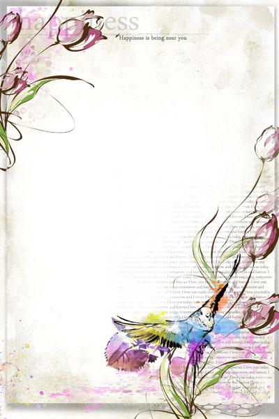 Рамка с акварельными цветами
