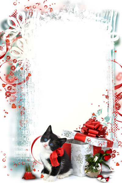 Рамка с котенком и подарком