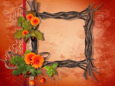 Рамка из веток с цветами