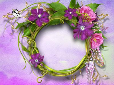 Круглая рамка с фиолетовыми цветами
