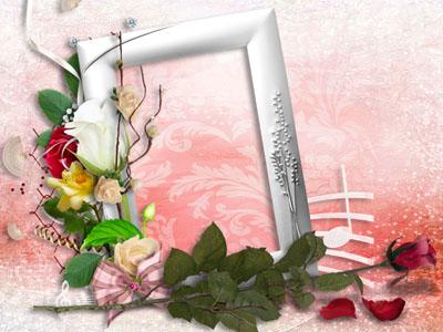 Рамка с розой на светлом фоне