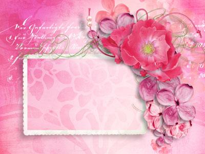 Рамка с нежными розовыми цветами