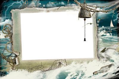 Рамка со штормом на фоне