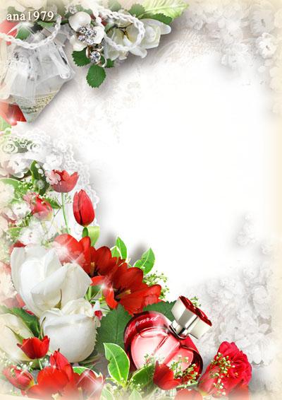Рамка с цветами и стразами