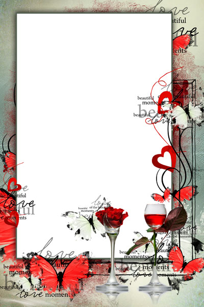 Рамка с сердцами и бокалом вина