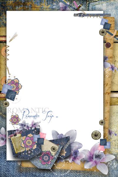 Рамка джинсовая с цветами