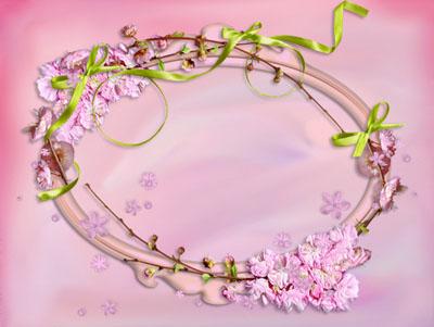 Рамка овальная из веток и цветов