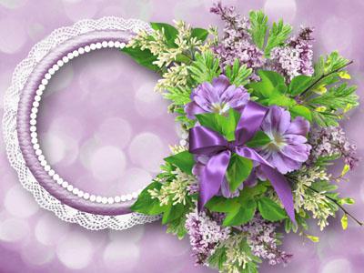 Рамка круглая с кружевами и цветами