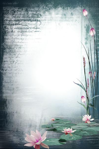 Рамка на озере с лилиями