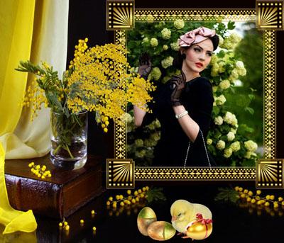 Рамка весенняя с желтыми мимозами