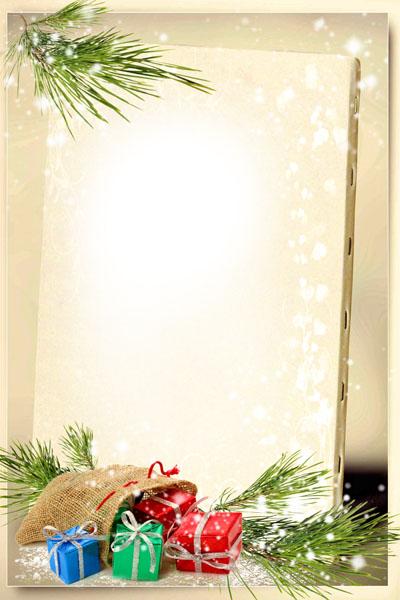 Рамка зимняя с подарками и еловыми ветками