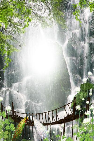 Рамка с водопадом и подвесной дорогой