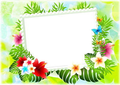 Рамка с папоротником и цветами
