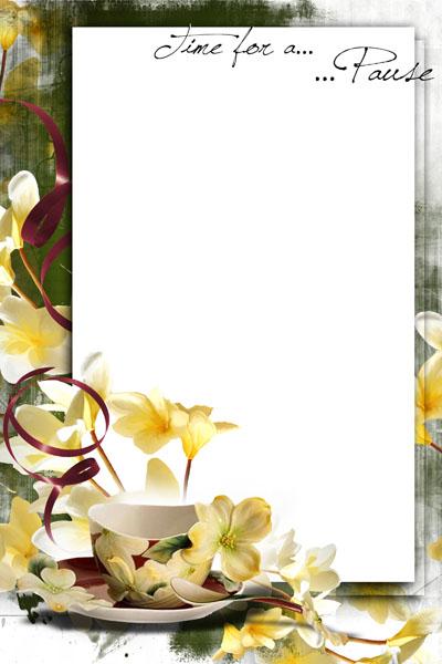 Рамка с кружкой чая и желтыми цветами