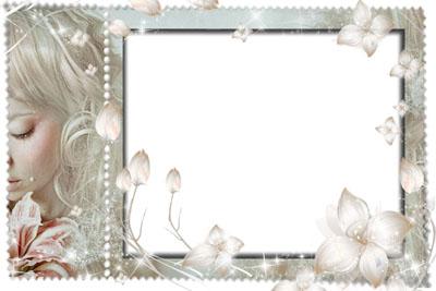 Рамка с девушкой и нежными цветами