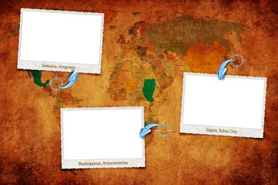 Рамка для фотографий с путешествий на фоне карты мира